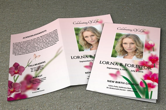 floral funeral program template memorial program obituary. Black Bedroom Furniture Sets. Home Design Ideas