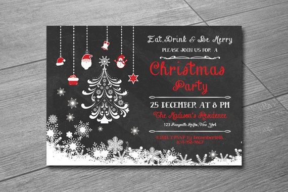 items similar to christmas invitation template holiday. Black Bedroom Furniture Sets. Home Design Ideas