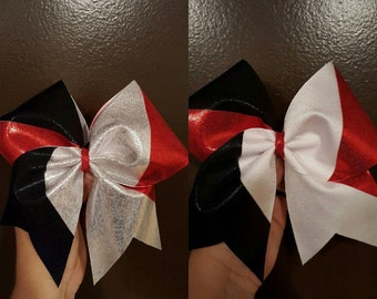 Red Black and Silver or White Cheer Bow