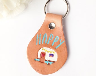 Happy camper keychain - leather keychain fob - essential oil diffuser - camper leather fob - keychain - leather keyring - wanderlust