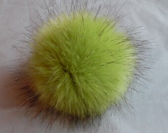 Size XS faux fur ( Green - black endings) pom pom  4 inches/ 10 cm