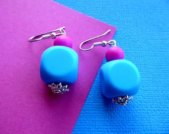 Blue & Pink Square Silicone Bead Earrings