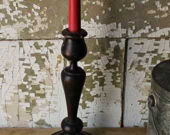 VINTAGE WOODEN CANDLESTICK-Turned Wood, lovely form Candleholder