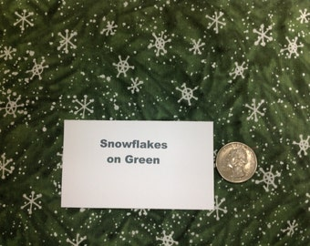 Snowflakes on Green - Fat Quarters