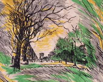 Vintage Sally Gee Silk Scarf with European city scene. Great winter tree scene with brown, green, yellow and white tones