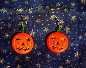 Stone Pumpkin Halloween dangle earrings