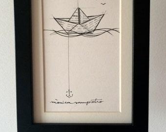 """Art Tattoo Original Sheet ink and pencil """" Barquito de Papel """""""