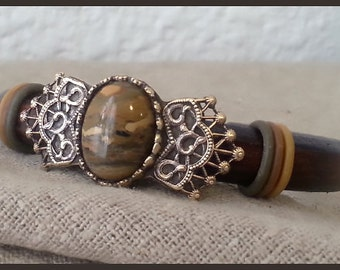 Women licorice leather brown bracelet with jasper cabochon