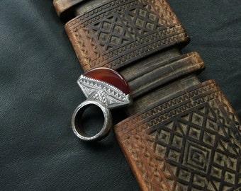 TUAREG RING,Cornelian Tuareg ring,ethnic jewelry,African jewelry