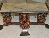 Antique French Gothic Jester Coffee Table with Marble Top Whimsical #6673