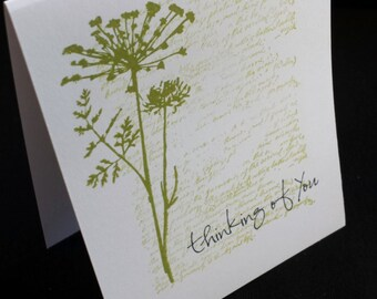 Thinking of You card set of 6, green green foliage with faded writting background, gender nuetral card set