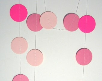 Paper garland pink baby shower decorations 2 metres circle shaped banner for DIY party decorations baby girl birthday hanging decorations