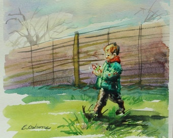Watercolour Figure Painting, Original art, Small boy playing outdoors, soft early spring colours, square 30x30cm, Loose Impressionist style