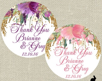 Wedding Favor Stickers - Thank You, Bridal Shower Purple or Pink Floral (12) 2.5 inch (20) 2 inch (24) 1.67 inch circle stickers - Favor Bag