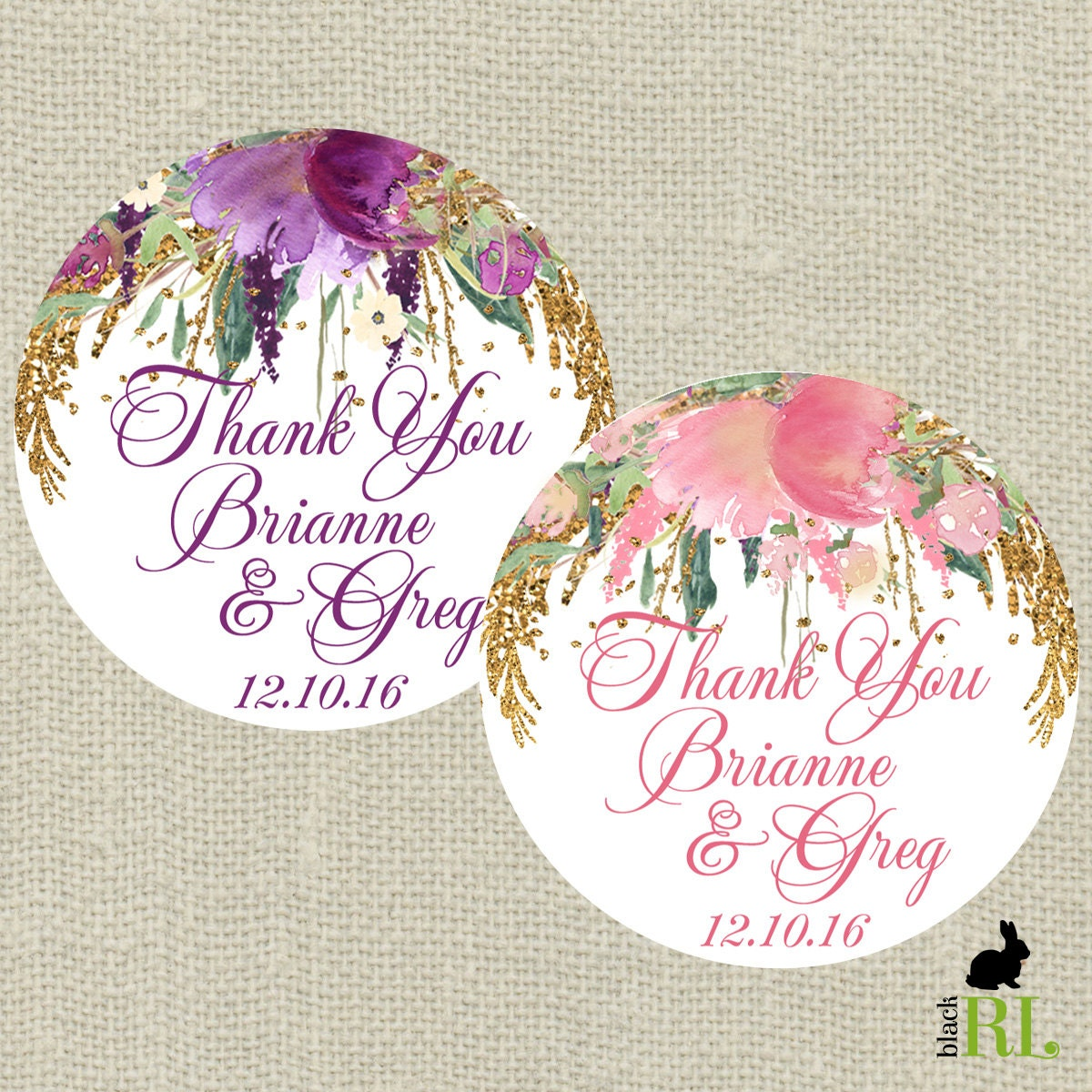 Wedding Favor Stickers Thank You Bridal Shower Purple Or