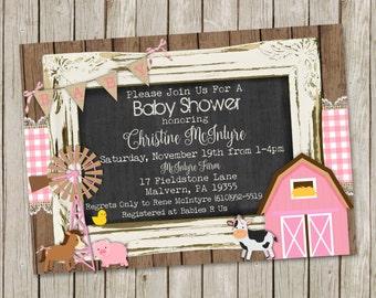 Farm Baby Shower Invitation – Country Baby Shower- Farm animals - printable 5x7