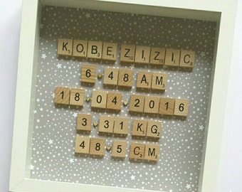 Personalised Scrabble Wall Art - Newborn Baby Birth Announcement Name Frame Gift