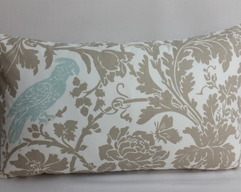 "Lumbar pillow, 20"" x 12"" Barber bird, taupe, white, powder blue bird, foliage"