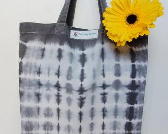 Shopping Tote - Hand Dyed 100% Cotton Shibori Tie Dye Grey Shopping Tote Bag