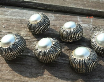 Vintage french buttons, silver/white colour buttons, upholstery buttons, unusual buttons, heavy buttons, 6 pce set buttons