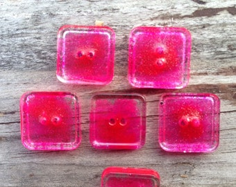 Square buttons glass buttons, hot pink sparkle, unusual buttons, cute buttons, handmade buttons, 1.5 or 2 cm buttons