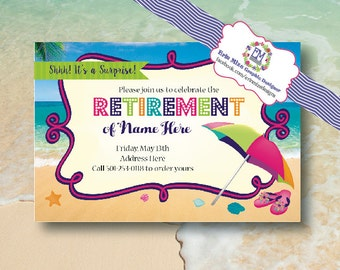 pool party, Retirement, Party, Beach, Themed Invitation