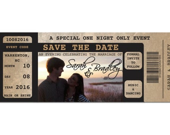 "Vintage Concert Ticket ""Save The Date"" Invitation"