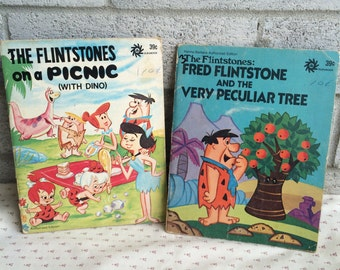 Vintage Flintstones Books, The Flintstones on a Picnic, Fred Flintstones and the Peculiar Tree, flintstones