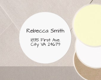 "minimalist GEOMETRIC font return address label stickers modern personalized round 12 large 2.5"" or 20 medium 2"" plain envelope seals WHITE"