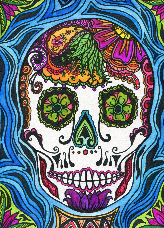 Sugar Skull Art Print Dia de los muertos day of the dead