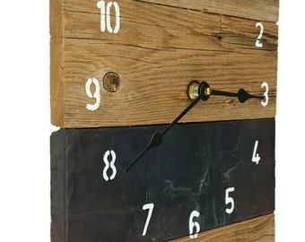 Copper (Black Oxidized) and Reclaimed Wood Handcrafted Wall Clock