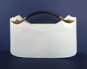 1960s White Leather Clutch with Tortoiseshell Handles