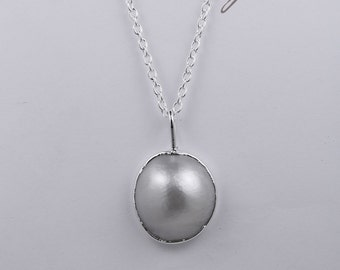 Mabe Pearl and Sterling Silver Pendant with a 45cm sterling silver chain