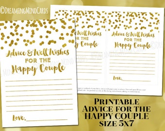 Printable Advice and Well Wishes for the Happy Couple Cards Gold Confetti Wedding Shower Instant Digital Download