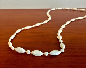 MCM White Beaded Long Necklace