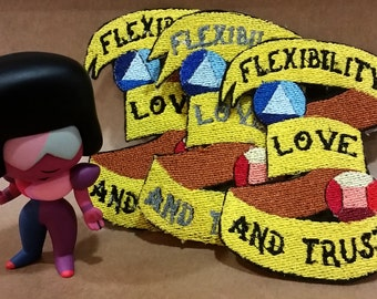 Flexibility Love and Trust Patch - Garnet Ruby Sapphire Steven Universe Iron On Ribbon Tattoo Traditional