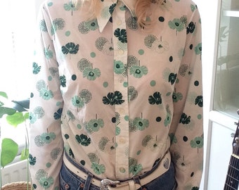 70's Green Floral Blouse