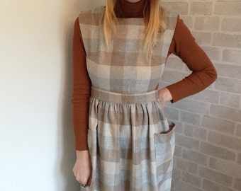 Wool Mix 70's Pinafore Dress