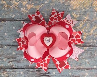 Valentine hair bow-valentine heart image hair bow- red pink white hair bow-valentine boutique hair bow-valentine over the top hair bow