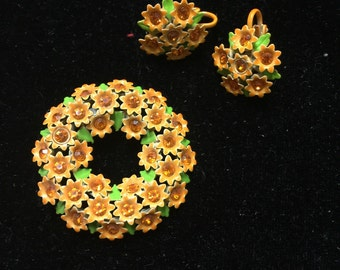 Vintage brooch and earring set. Orange flowers with lime green accents