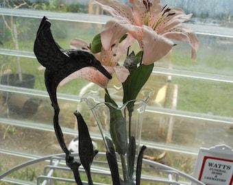SAVE 50% Glass bud vase,Brass Hummingbird,made in Korea, Bud Vase,Lovely Hummingbird Decoration, Decorative Bud Vase,joy in life,playfulness