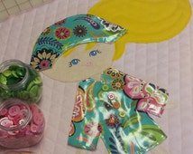 Wool Felt Paper Doll Blanket with Five Darling Outfits