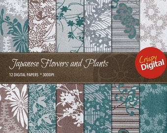 Japanese Flowers and Plants Collage Sheets Vol. 13 Digital Papers 12pcs 300dpi Digital Download Scrapbooking Printable Paper
