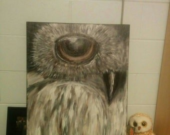 Acrylic owl painting with gloss ontop