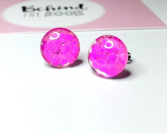 Raspberry Sorbet Tropical Chunky Glitter Stud Earrings Handmade Pink