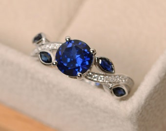Sapphire ring, leaf ring, multistone  ring, blue sapphire ring, engagement ring