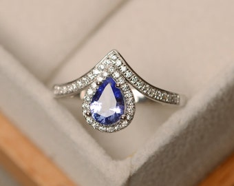 Tanzanite ring, pear cut, engagement ring, tanzanite