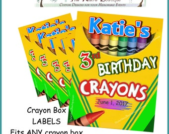 Personalized Crayon labels for crayon boxes  Birthday Party Favors