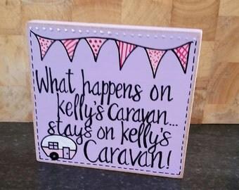 Caravan Free Standing Wooden Plaques