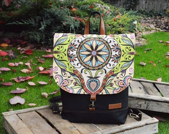 Colorful Mandala Backpack, Waterproof Backpack, Bohemian Rucksack, Festival Crossbody Bag, Hipster Vegan Backpack, college students gift